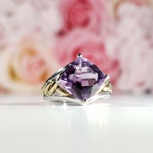 (📽) Amethyst 10k Yellow Gold/Sterling Silver Ring